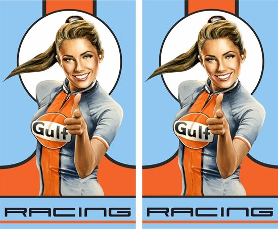 Picture of Gulf Racing Girl Decals / Stickers