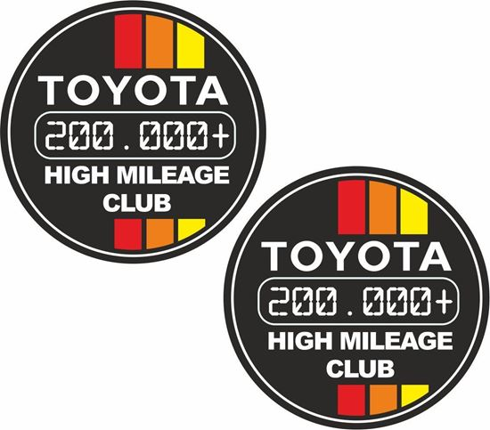 """Picture of """"Toyota 2000.000+ High Mileage Club"""" Decals / Stickers"""