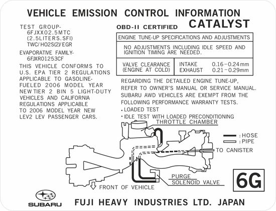 Picture of Subaru Legacy Emission replacement Decal / Sticker