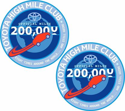 """Picture of """"Toyota 2000.000 High Mileage Club"""" Decals / Stickers"""
