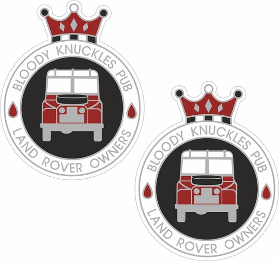 """Picture of Land Rover Club """"Bloody Knuckles Pub"""" Decals / Stickers"""