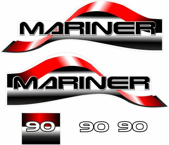 Picture of Mariner 90 replacement Engine Cover Decals / Stickers