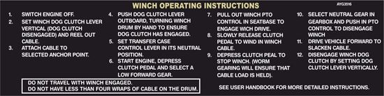 Picture of Land Rover Defender Winch Operating Decal / Sticker