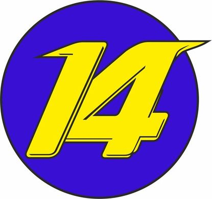 """Picture of """"14"""" Track and street race nose cone number Decal / Sticker"""